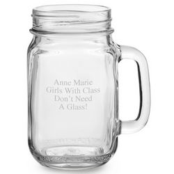 Engraved Mason Drinking Jar