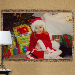 Personalized Holiday Photo Tapestry Throw Blanket