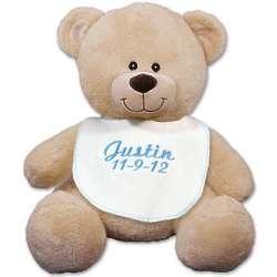"""Embroidered Blue Bib 11"""" Teddy Bear"""