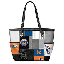 New York Mets Patchwork Tote Bag with Team Logos