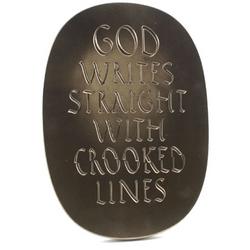 God Writes Carved Plaque