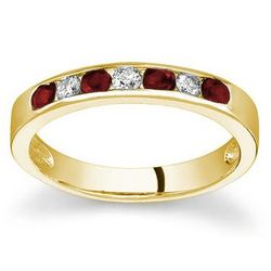 Yellow Gold Ruby and Diamond Stackable Channel Ring