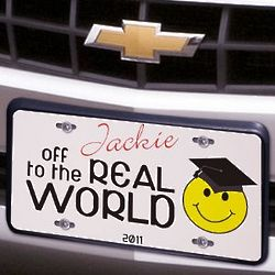 Off to the Real World Personalized Graduation License Plate