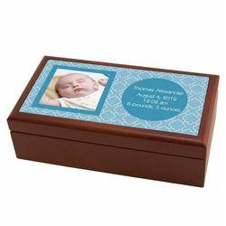 Personalized Photo Birth Record Box in Blue