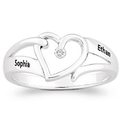Sterling Silver Couple's Open Heart Diamond Name Ring