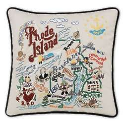 Hand Embroidered Rhode Island State Pillow