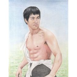 Bruce Lee Color Pencil Sketch Print