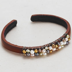 Pearl Wrapped Leather Cuff Bracelet