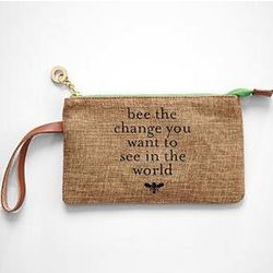 Eco-Friendly Jute Wristlet with Leather Handle