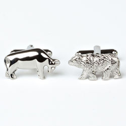 Rhodium Plated Bull and Bear Cufflinks with Engraved Box