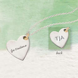 Engraved Je T'adore 'I Adore You' Pendant