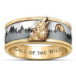 Men's Ion-Plated 24 Karat Call Of The Wild Gold Spinner Ring