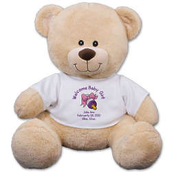 Welcome Baby Girl Personalized Teddy Bear