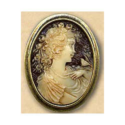 Victorian Lady and Bird Brooch