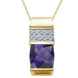 Checkercut Amethyst & Diamond Slide Pendant Necklace