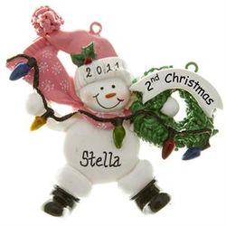 Second Christmas Snowbaby Girl with Lights Ornament