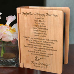 """Personalized """"Recipe for a Happy Marriage"""" Wooden Photo Album"""