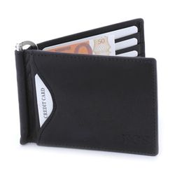 Men's Genuine Leather Bi-Fold Wallet with Money Clip