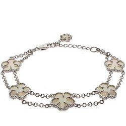 Double Strand Mother of Pearl Clover Bracelet