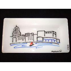Madison Skyline Fused Glass Platter