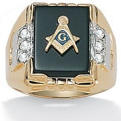 Men's Onyx Masonic Crystal Ring