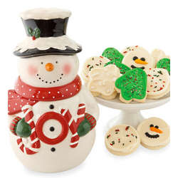 Collector's Edition Snowman Cookie Jar with Cookies