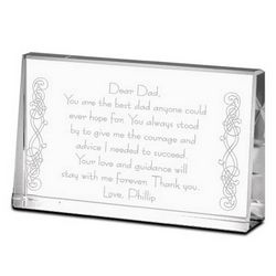 Thank You Dad Personalized Crystal Plaque