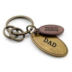 Hammered Metal Double Oval Key Chain