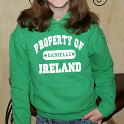 Property of Ireland Youth Personalized Green Hooded Sweatshirt