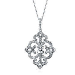 Sterling Silver and Cubic Zirconia Filigree Art Deco Necklace