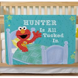Personalized Sesame Street Elmo All Tucked in Blanket