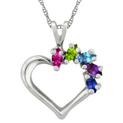 Personalized Marquise Birthstone Heart Necklace in White Gold