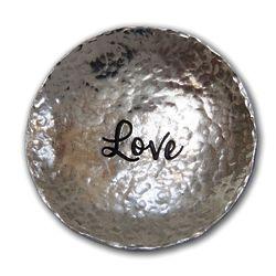Love Hammered Pewter Trinket Dish