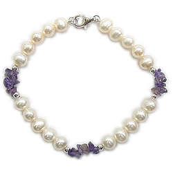 Amethyst & Pearl Bracelet in 14K White Gold