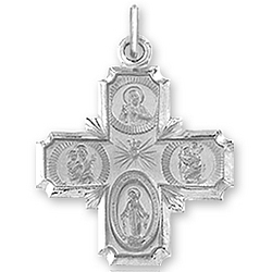 14k White Gold Carved Four Way Cross