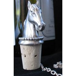 Horse Head Pewter Wine Stopper
