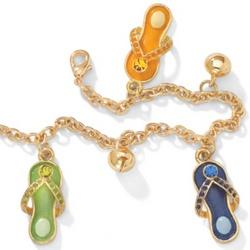 14k Gold-Plated Austrian Crystal Flip-Flop Ankle Bracelet
