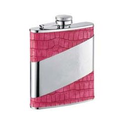 Personalized Pink Crocodile Pattern Flask