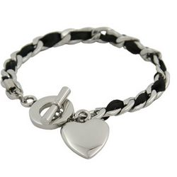 Engravable Heart Tag Toggle Bracelet with Black Ribbon