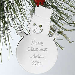 Engraved Snowman Christmas Ornament