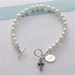 Girl's Personalized Cross Bracelet