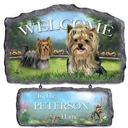 Lovable Yorkies Personalized Welcome Sign