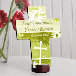 Personalized Delicate Daisy First Communion Cross