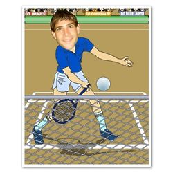 Tennis Player Caricature from Photo Art Print