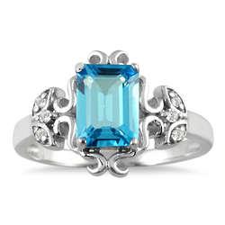 2 Carat Emerald Cut Blue Topaz and Diamond Ring