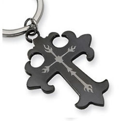 Black Stainless Steel Cross Key Ring