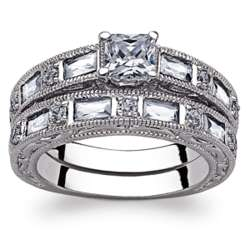 Princess Solitaire and Baguette Cubic Zirconia Wedding Ring Set