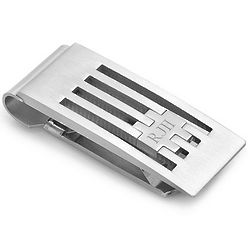 Engraved Grill Design French Fold Money Clip