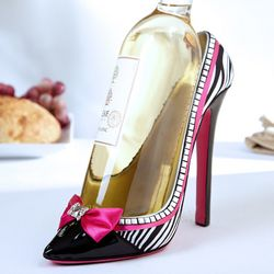 Zebra Chic High Heel Wine Bottle Holder