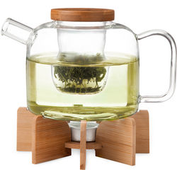 Glass Teapot with Wooden Serving Stand